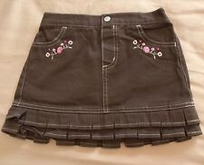 Faded Glory Youth Girls Skirt Mini Size 4T Brown Embroidery Detail