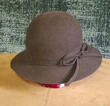 Vintage Womens Cloche hat by Astre, sz6, dark brown, original in great condition