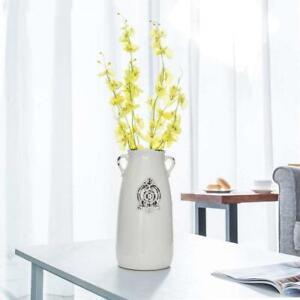 Farmhouse Style Decorative Antique White Ceramic Vase w/ Handle Flower Pots