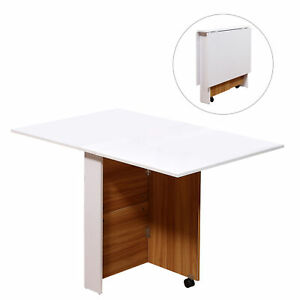 Fold Away Dining Table Desk Space Saving On Wheels Flat White & Wood 4-6 People