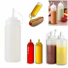 240ml Plastic Clear Squeeze Squeezy Sauce Bottle Mayo Dispenser BEST X9M0