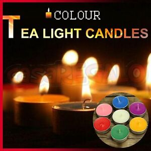 Tea Light Tealight Candles 4 Hour Burn Scent Candle Wedding Party Coloured