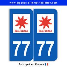 Stickers pour plaque département 77 Seine-et-Marne (jeu de 2 stickers)