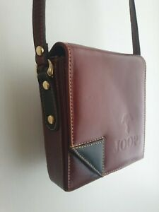 JOOP! Vintage Leather Shoulder Bag. Men`s Brown with Black Leather