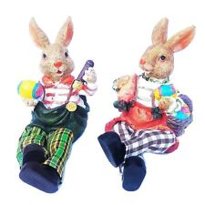 2 x Easter Bunny Rabbit Figurine Vintage S Adorable Moving Leg Bistro Home Decor