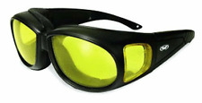 Motorcycle Rider Yellow Lens Low Light Glasses Fits Over Prescription Glasses