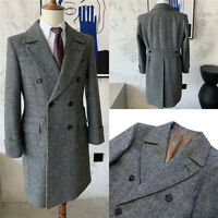 Gray Men Suits overcoats Business Herringbone Tuxedos Wool Blend Double Breasted