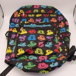 Walt Disney World Parks Black Polyester Multi Mickey Face Print BackPack Bag