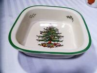 """SPODE Holiday CHRISTMAS TREE 12""""x12"""" BAKING DISH Beautiful MINT Excellent!"""