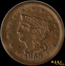 1853 MS64BN PCGS 1/2C Braided Hair Half Cent, Nice Even Brown Color!! F/S MARC