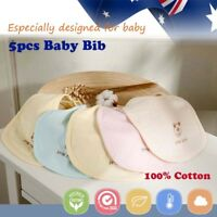 5pcs Baby Bibs Pure 100% Cotton Bandana Feeding Kid Toddler Unisex Soft Saliva
