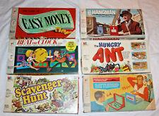 MILTON BRADLEY BOARD GAMES BATTLESHIP SCAVENGER HUNT EASY MONEY HANGMAN ANT
