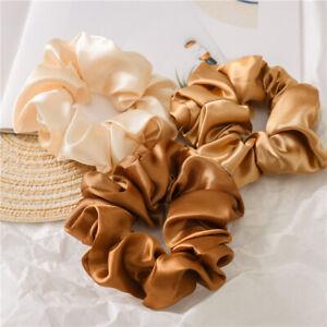 Women Satin Silk Hair Tie Elastic Scrunchie Ponytail Holder Hair Rope Head Decor