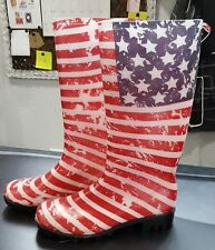 NWT CAPELLI TALL WELLIE AMERICAN FLAG RUBBER GARDENING BOOTS RAINBOOTS SZ. 6M