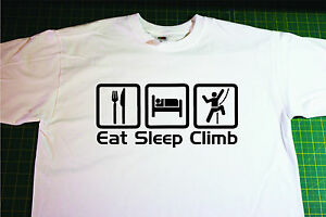 Eat, Sleep, Climb T-Shirt In White. Size Small. Climbing, Mountaineering