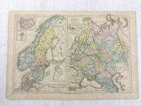 1877 Antik Map Of Russland Norwegen Schweden Dänemark Hand- Farbig 19th Century