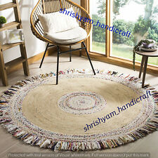 Natural Jute Carpet Cotton Boho Handmade Round Braided 240x240 CM Floor Area Rug