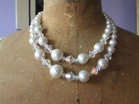 Vintage 1960s faux pearl & Aurora Borealis crystal necklace Mid Century Modern