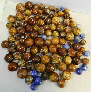 14078m Vintage Group of 100 German Handmade Bennington Marbles .45 to .89 Inches