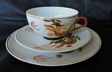 Vintage Japanese Kutani Hand Painted Gold Dragon Geisha Lithophane Tea Trio