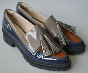 Ladies Clarks Narrative Navy Blue & Taupe Patent Leather Loafers Shoes UK 5.5 D