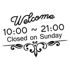 CUSTOM WELCOME TRADING HOURS SHOP STICKER Decal Car Vinyl Personalized Text #...