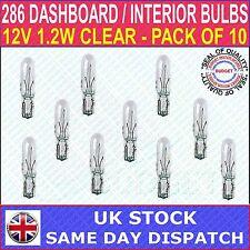 CAR DASH LIGHT MINIATURE BULBS - CAPLESS - CLEAR - T5 (286) - 12V 1.2W PK 10 NEW