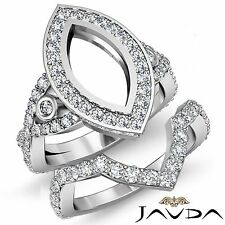 Marquise Diamond Engagement Ring Bridal Sets Platinum 950 Semi Mount 2.8Ct