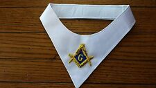 Masonic Lodge White Cravat with Gold and Blue Embroidery Square & Compass