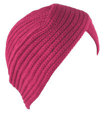 Turban Hat Head Cover Winter Knit Hat Beanie Hot Pink
