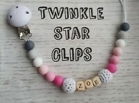 Personalised Silicone Dummy Clip With Wooden Letters Pink Grey White Baby Girl
