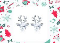 Ohrringe Silber Rentier Damen Ohrstecker Strass Kristall Weihnachten Geschenk ♥