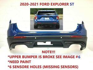 2020-2021 ford explorer ST rear bumper w/ 6 sensor Holes (Need Paint ,Broke) #4
