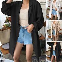 ZANZEA Femme Manteau Blazer Loose Coton Coupe slim Manche Longue Cardigans Plus