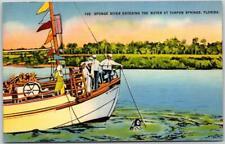"Tarpon Springs, Florida Postcard ""Sponge Diver Entering the Water"" Linen c1940s"