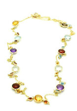 14K Yellow Gold Round Shaped Multi-Colored Gemstone Necklace 32 Inches