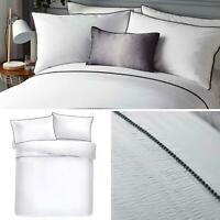 White Duvet Covers Pom Pom Trim Pleated Luxury Quilt Cover Bedding Sets