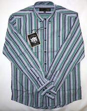 Merc London Camisa para hombre a rayas en verde talla M nuevo con etiquetas