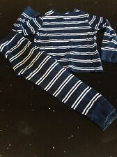 Boys Navy Blue & White Stripe Pyjamas Age 5-6 Years