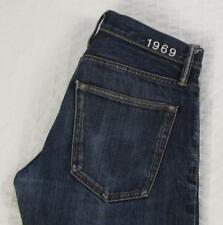 Men Gap 1969 Skinny Redline Selvedge Jeans Button Fly Low Rise Dark Wash 30 X 30