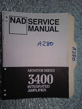 NAD 3400 service manual original repair book stereo amp amplifier