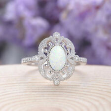White Fire Opal 925 Silver Filled Gemstone Ring Women Party Wedding Trendy Gift
