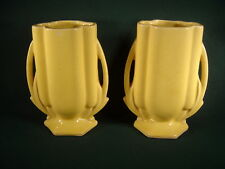 """Pair of Vintage McCoy ~ Glossy Yellow Two Handled  5"""" Vases ~ No Mark"""