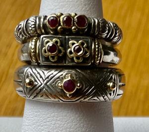 Set of 3 Konstantino Sterling Silver & 18k Gold Stacking Rings Sz 6.5      MM02