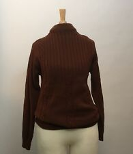 Vintage 1960s Chestnut Brown Mock Turtleneck Sweater Zipper Neck