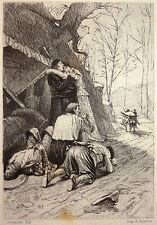 Gravure Etching Incisione Kupferstich François FLAMENG Scarron le Roman Comique