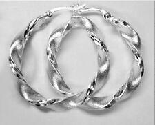 925 ECHT SILBER ***  Ohrringe Creolen gedreht matt diamantiert 30 mm