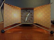 Brown Vintage 1950's Snider Clock Mid Century Modern Atomic TV Lamp
