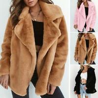 Women Teddy Bear Winter Coat Faux Fur Long Sleeve Cardigan Fluffy Jacket Coat US
