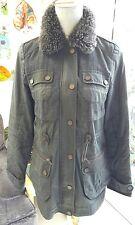 NEXT  Brown / Khaki Tweedy & Waxed Style Jacket, Faux Fur Collar, Sz 6 longline